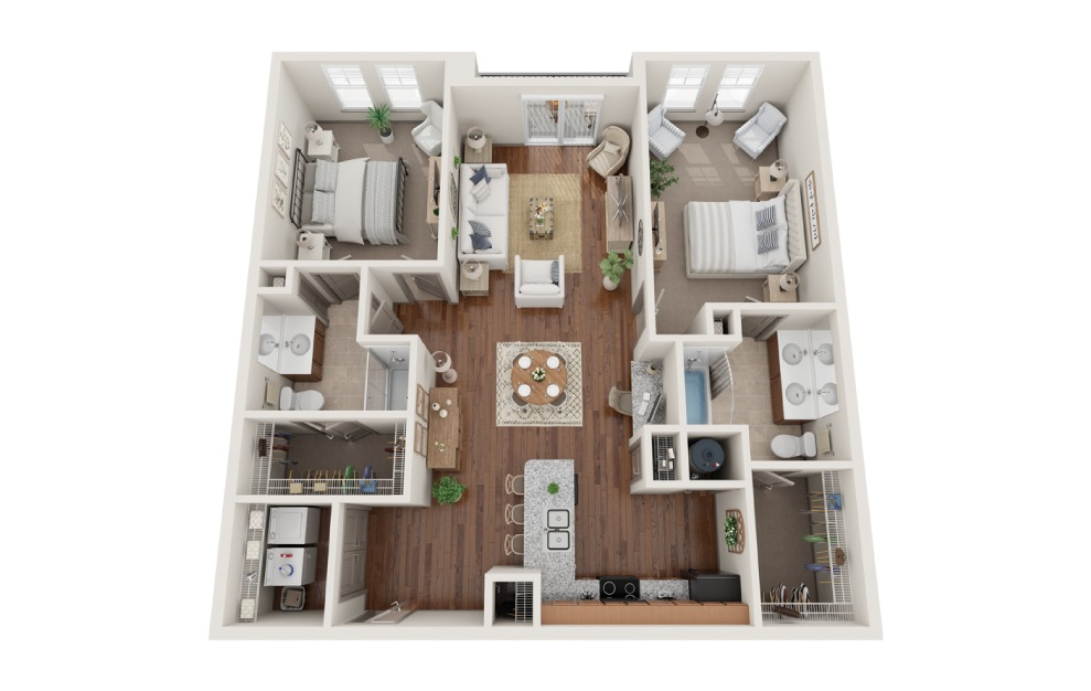 The Chicago - 2 bedroom floorplan layout with 2 baths and 1187 square feet. (3D)
