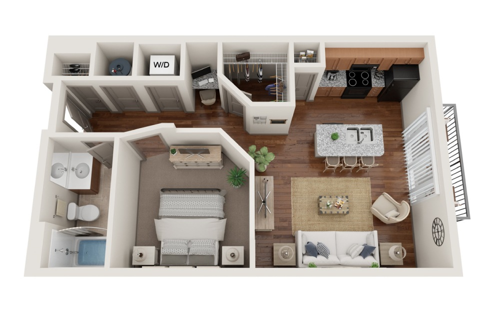 The Fishers - Studio floorplan layout with 1 bath and 642 square feet. (3D)