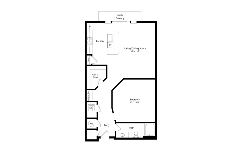 The Fishers - Studio floorplan layout with 1 bath and 642 square feet. (2D)
