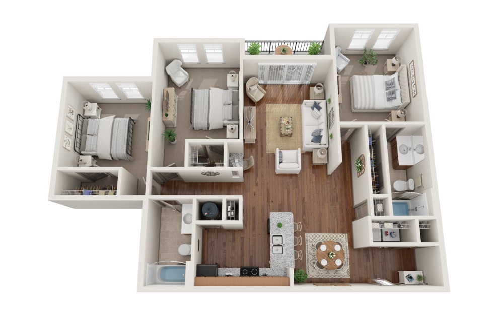 The Los Angeles - 3 bedroom floorplan layout with 2 baths and 1346 square feet. (3D)