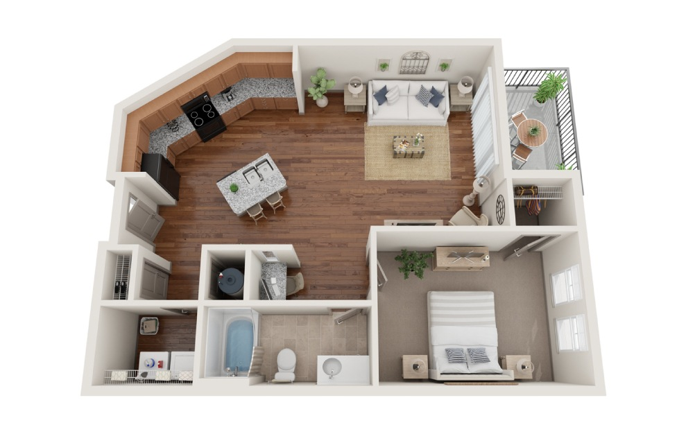 The New Orleans - 1 bedroom floorplan layout with 1 bath and 777 square feet. (3D)