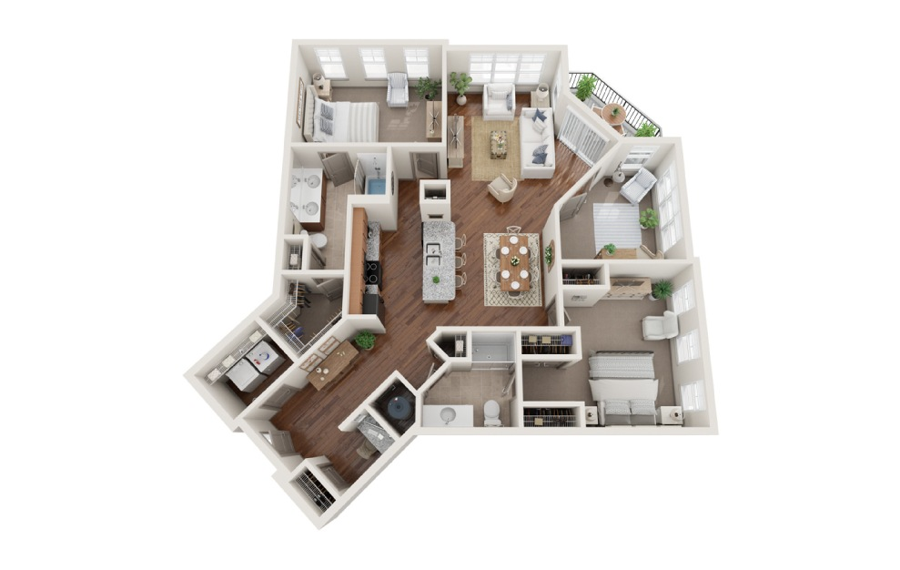 The New York - 3 bedroom floorplan layout with 2 baths and 1392 square feet. (3D)