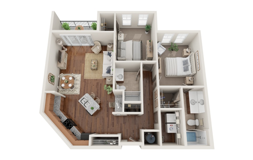 The Philadelphia - 2 bedroom floorplan layout with 2 baths and 1076 square feet. (3D)