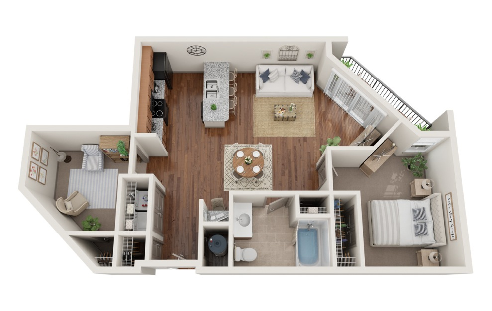 The Seattle - 1 bedroom floorplan layout with 1 bath and 900 square feet. (3D)